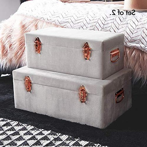 Beautify Gray Velvet Storage with Rose Gold Clasps - Footlocker Trunks