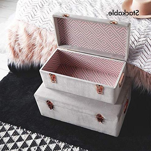 Beautify Gray Velvet Decorative Storage with Rose Gold Clasps College Bedroom Footlocker