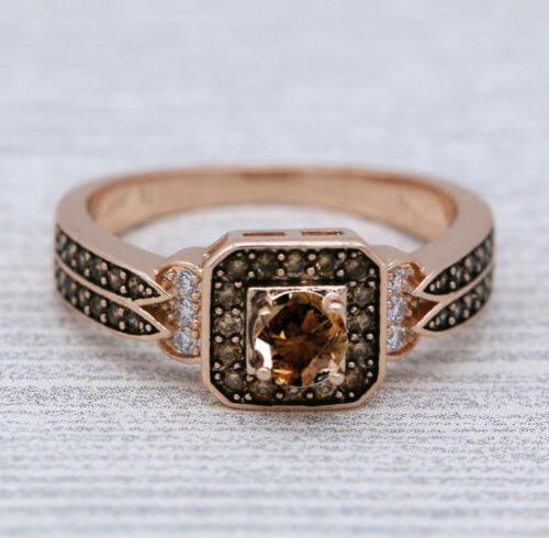 Halo Square Chocolate Rose Gold Plated Women Fashion J954
