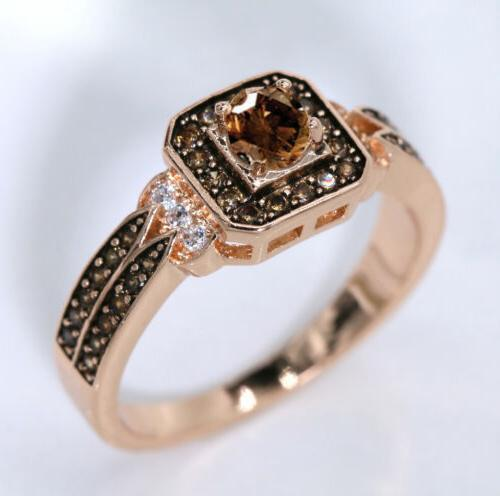 Halo Chocolate CZ Fashion Ring J954