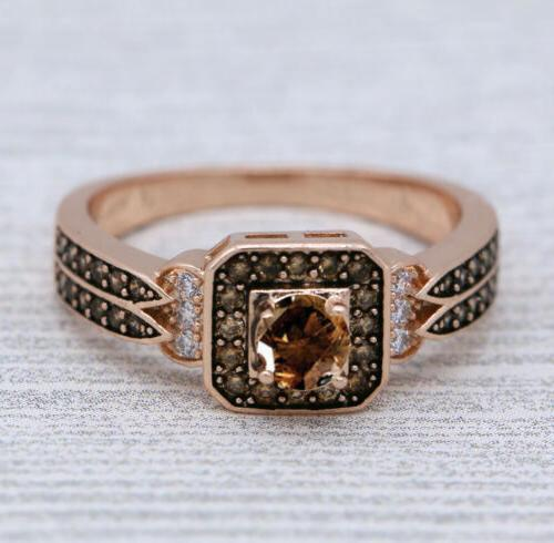 Halo Square Rose Gold Fashion Jewelry Ring J954