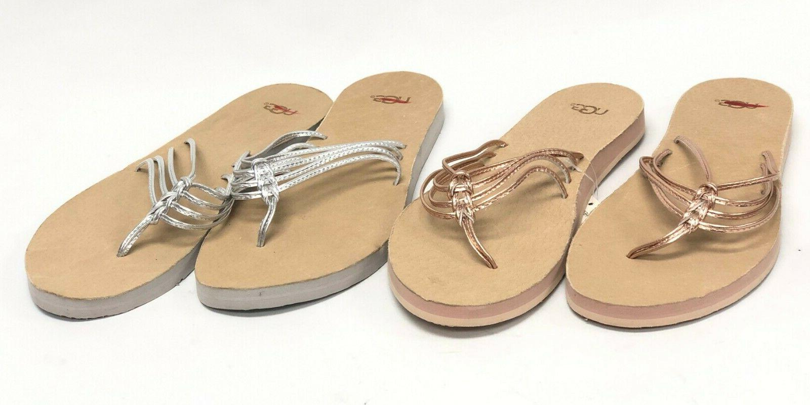 Ugg Metallic Rose Silver Sandals Flip