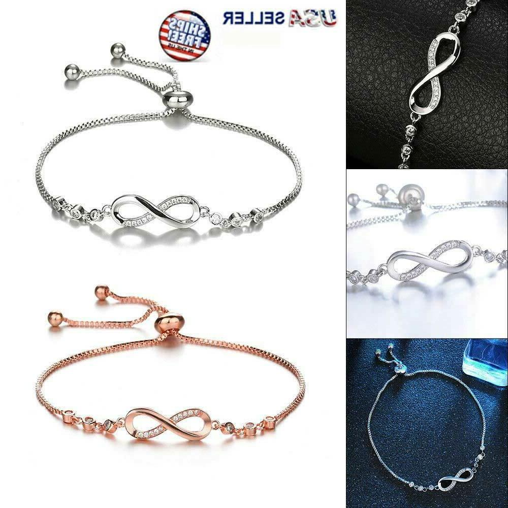 infinity bracelet love charm stainless adjustable chain