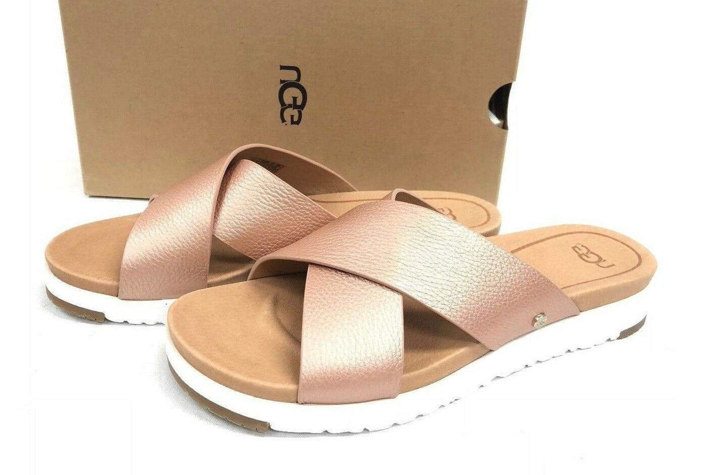 kari metallic rose gold leather imprint slide