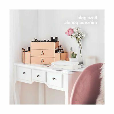 Beautify Mirrored Rose Gold Glass Cosmetic Storage