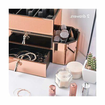 Beautify Gold Glass Cosmetic Makeup Storage Organizer