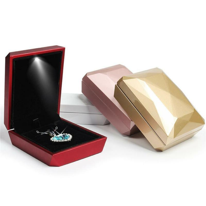 LED Jewelry Display Box Ring Necklaces Case
