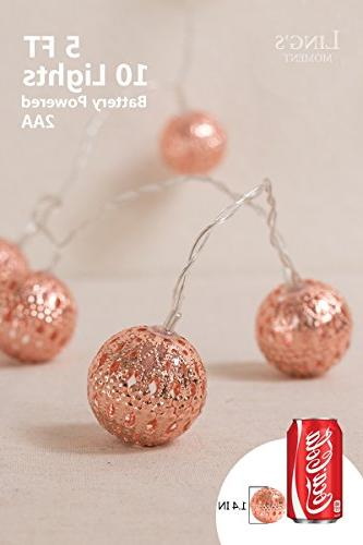 Ling's Rose Gold Moroccan Boho Lights for Indoor, Curtain, Decorations