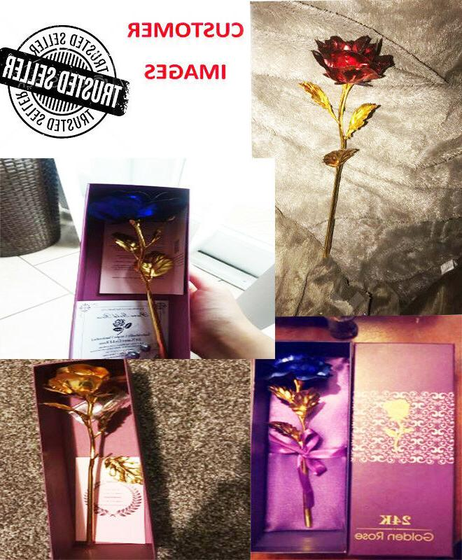 Luxury Gold Plated Rose Flower Dipped For Mothers Day Gift Woman Ladies