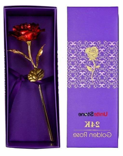 Luxury Gold Rose Flower Dipped In 24K For Mothers Woman Ladies