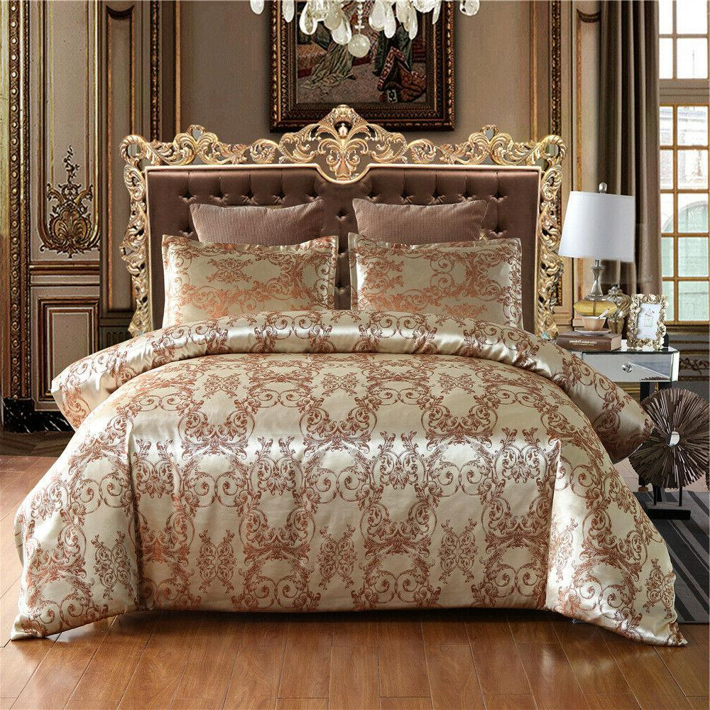Luxury Satin Jacquard Bedding Set Duvet Pillowcases Twin/Queen/King