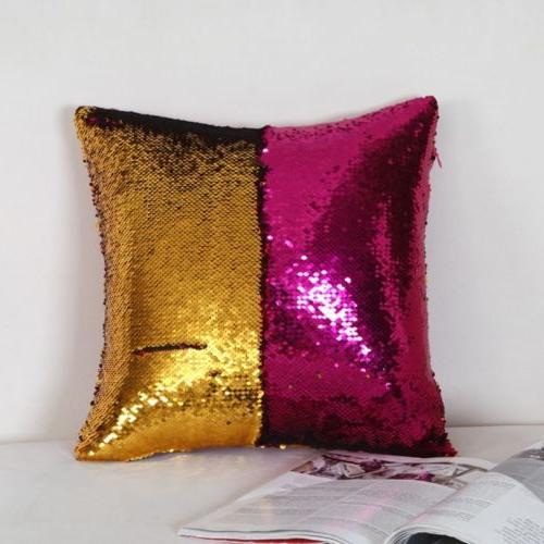 "Magic Sequin Glitter Cushion Pillow 16""x16"""