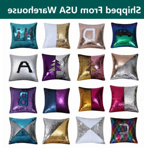 magic mermaid reversible sequin glitter cushion cover