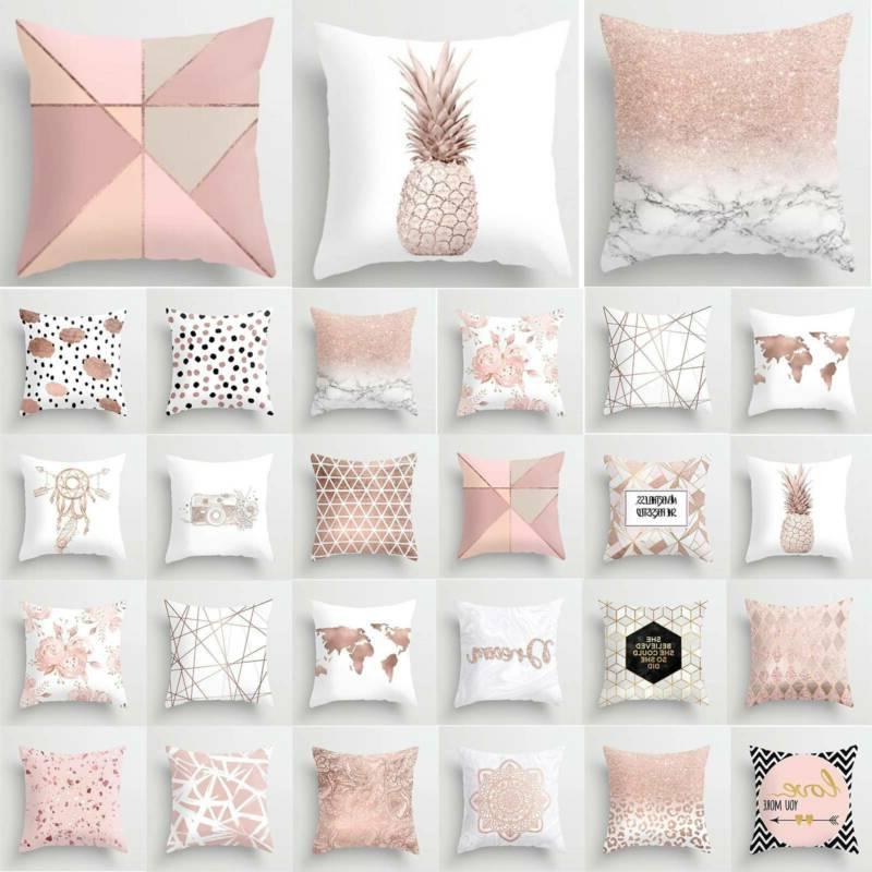 marble rose gold pink throw pillow case