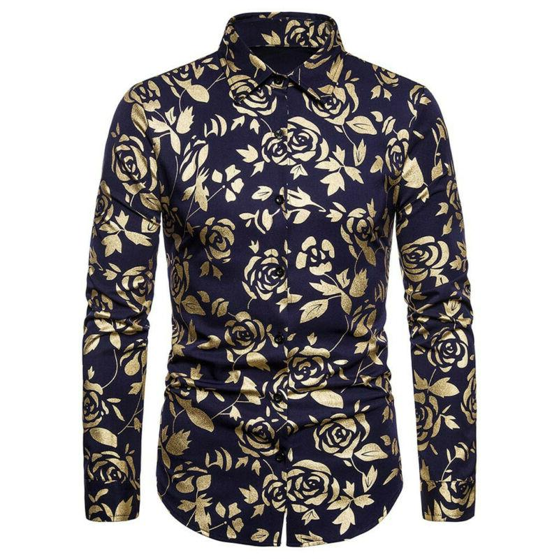 Men's Luxury Rose Gold Shiny Flowered Button Down Dress US