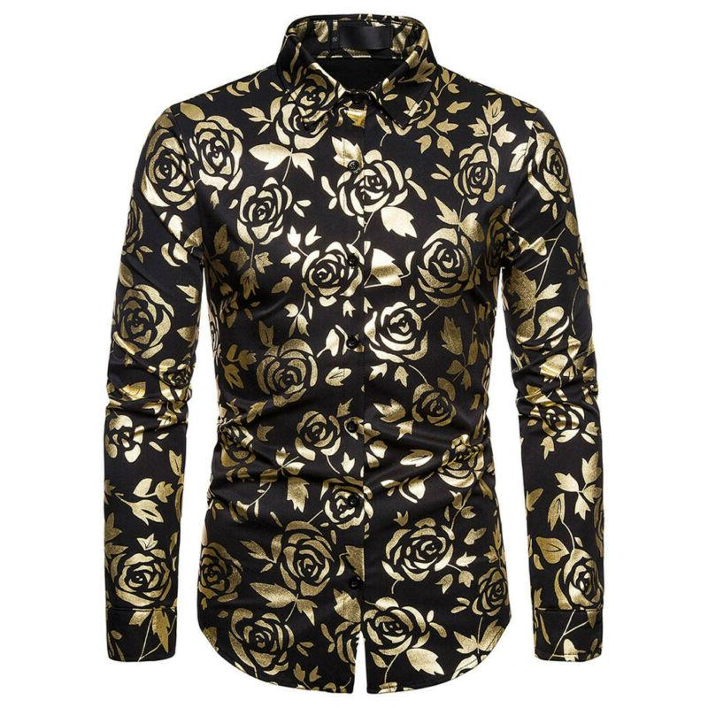 Men's Rose Gold Shiny Flowered Printed Stylish Button Down US