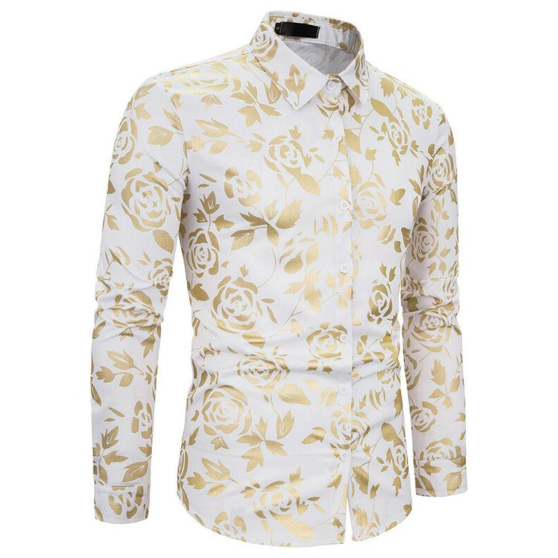 Men's Luxury Gold Shiny Flowered Printed Button US