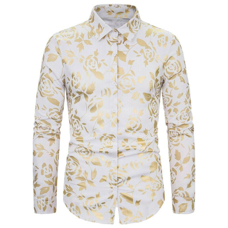 Men's Luxury Rose Gold Shiny Flowered Button Down Shirt US