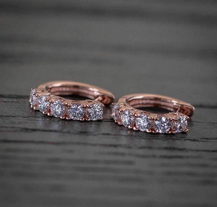 men s rose gold diamond hoop stud