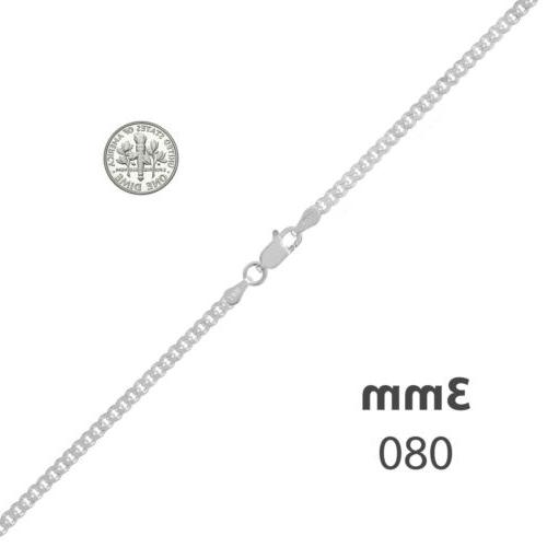 Men's Rose Gold Plated 3mm Cuban Chain Link Sterling