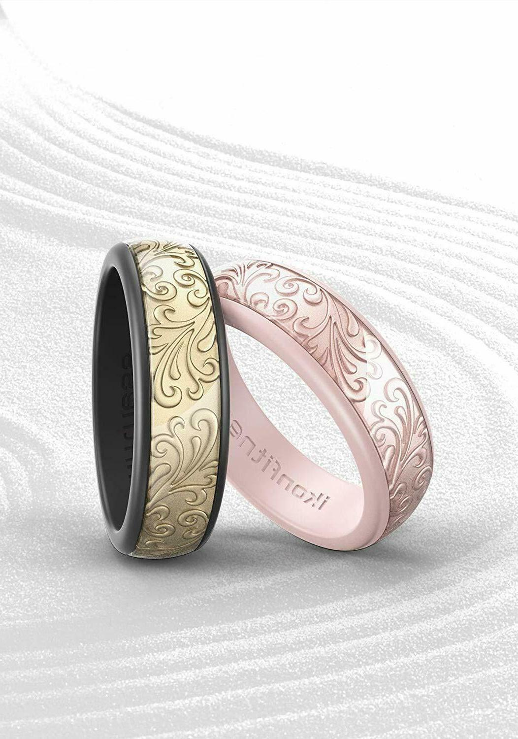 Men Silicone Ring Rubber Sculptured Flower Flexible Rings