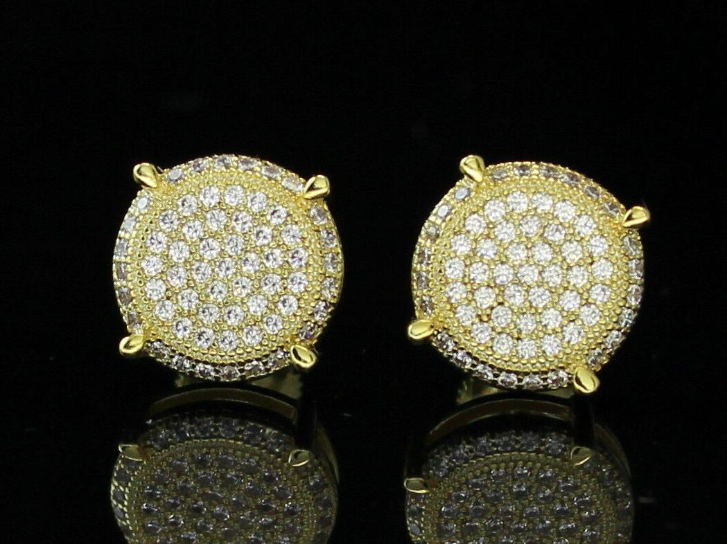 Mens 10mm Round Gold Cz Hip Back Earrings