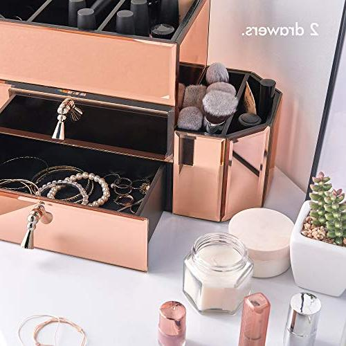 Beautify Large Mirrored Gold Cosmetic Storage Box 2 Drawers and Sections Silver