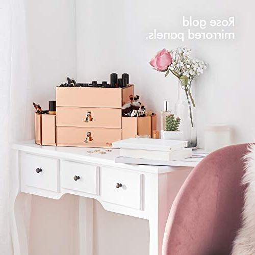 Beautify Large Rose Gold Makeup Box and Silver