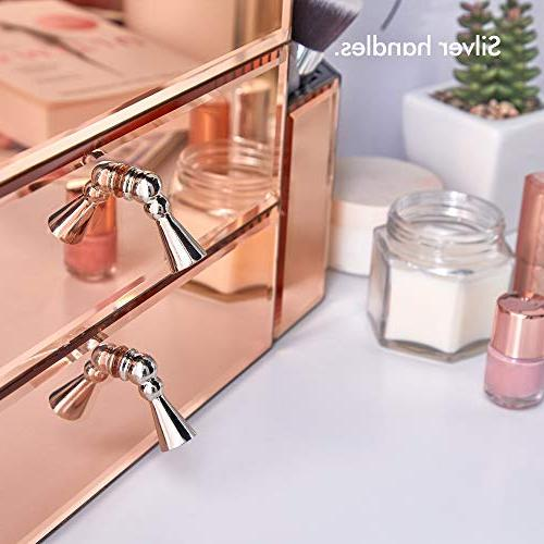 Beautify Gold Glass Storage Organizer Jewelry Box and 7 Sections with Silver