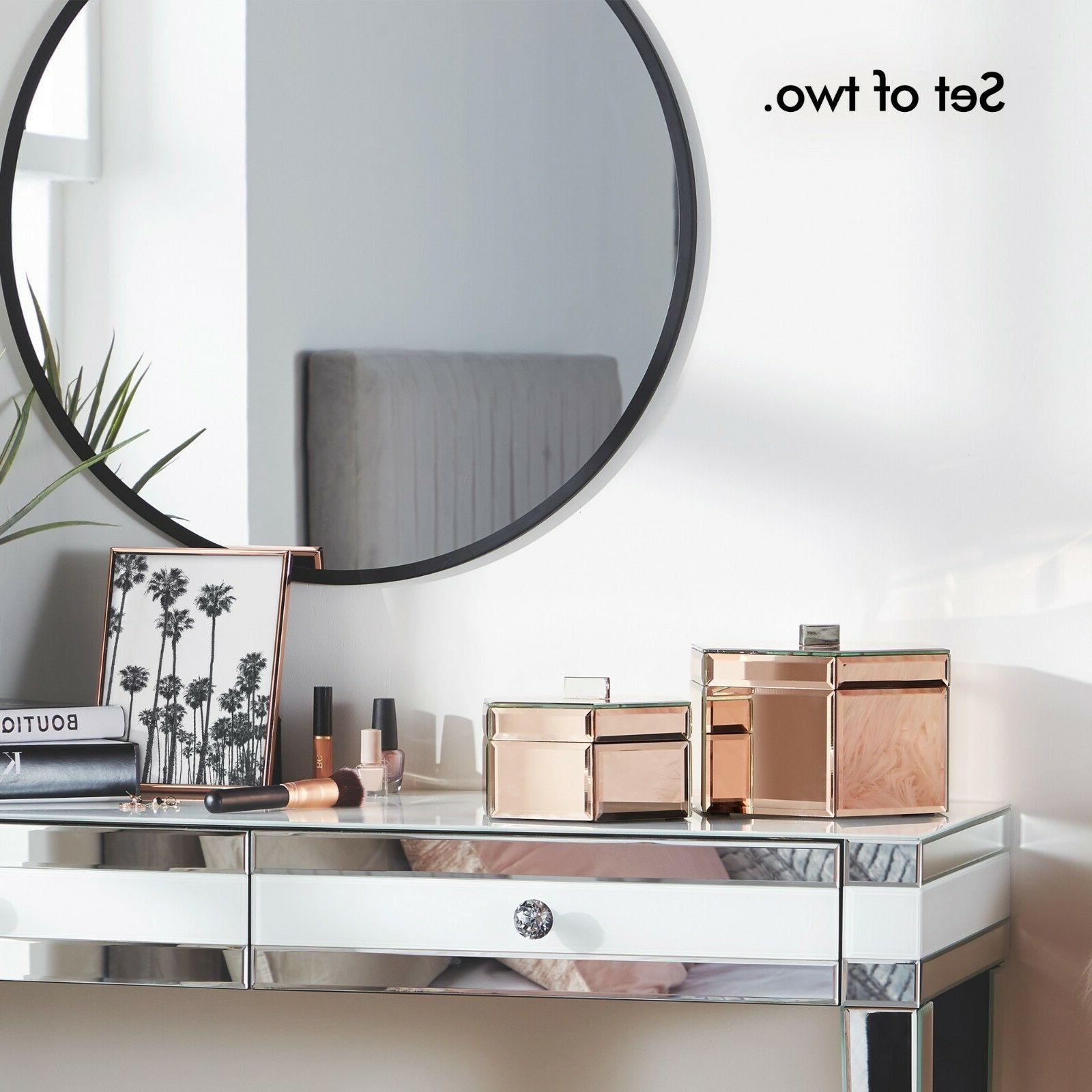 Beautify Mirrored Rose Octagon Jewelry Storage Boxes