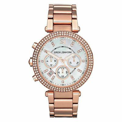 mk5491 rose gold tone glitz parker watch