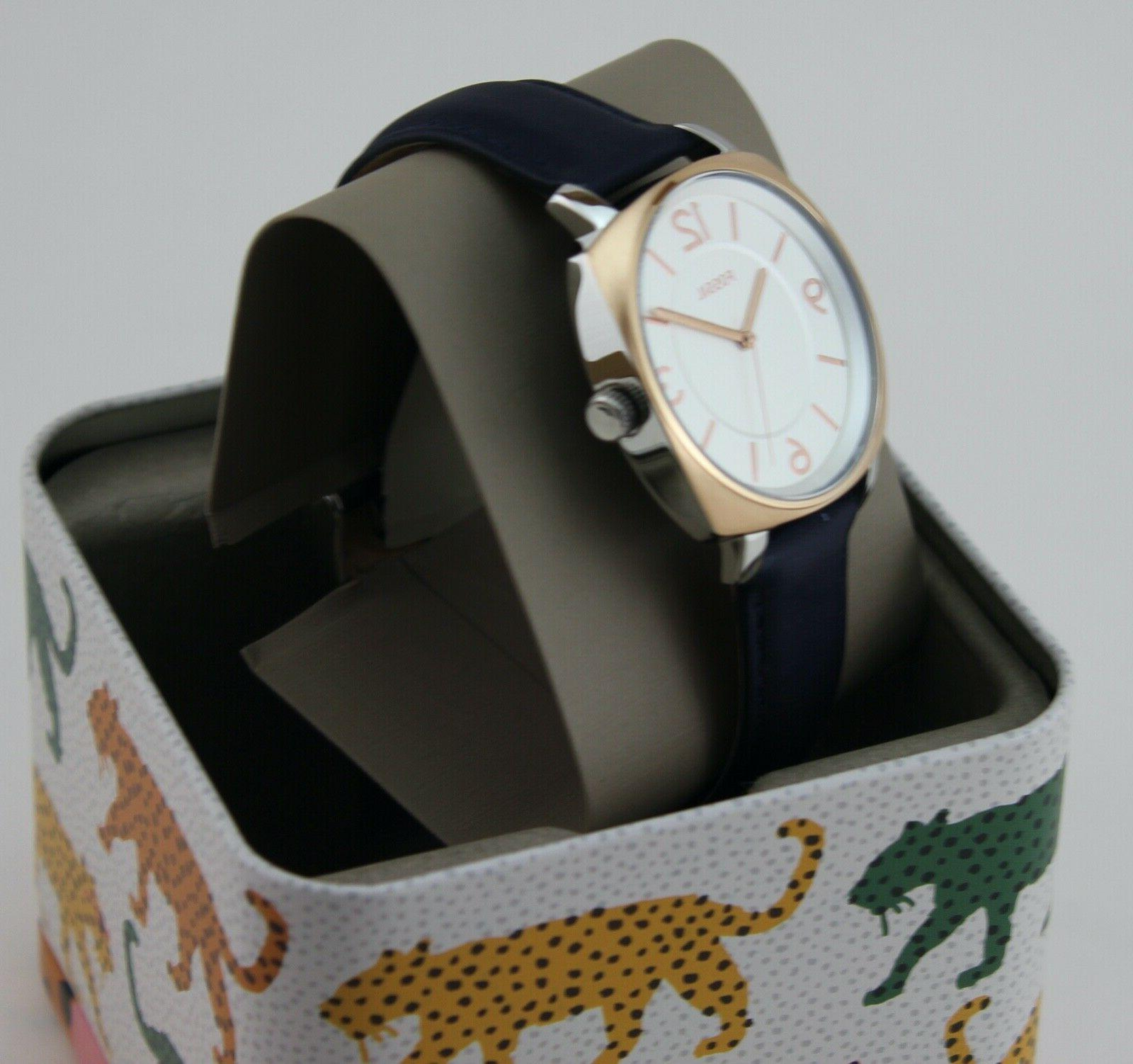 NEW AUTHENTIC ROSE GOLD NAVY LEATHER BQ3302