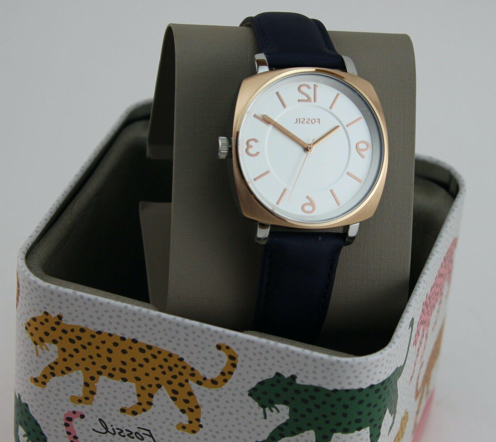 NEW ROSE GOLD NAVY BLUE LEATHER