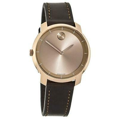 new bold rose gold tone leather strap