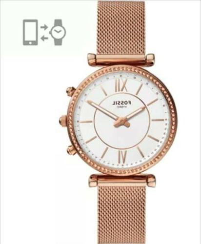New Fossil Carlie Hybrid Rose Mesh Stainless Steel