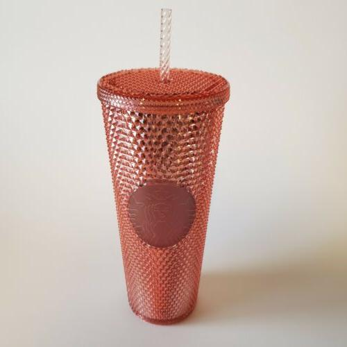 new tumbler studded rose gold cold cup