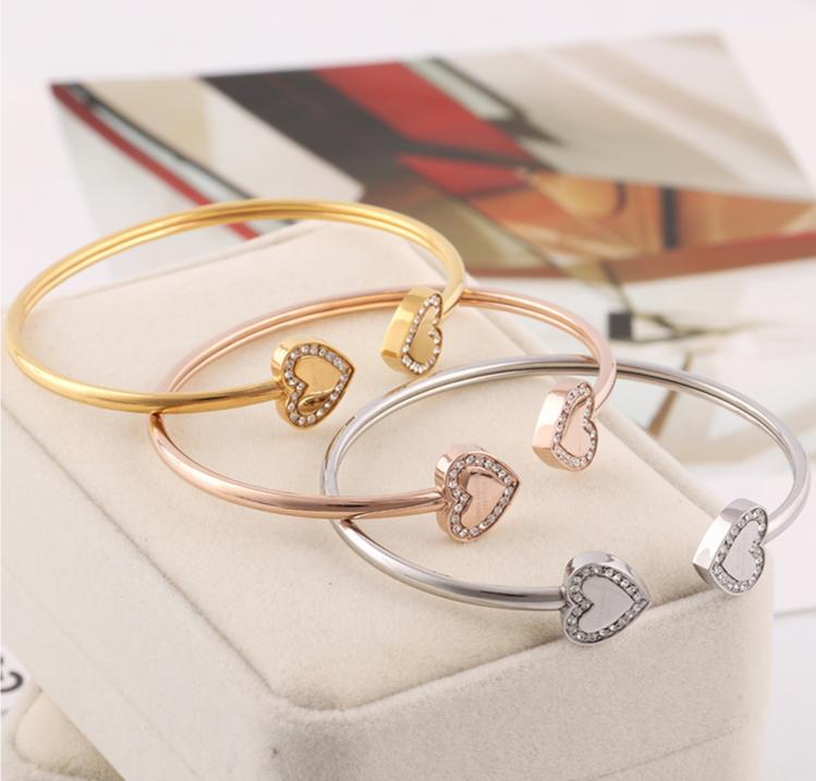 NWT Michael Kors Double Heart Pave Crystal Gold Plated Cuff