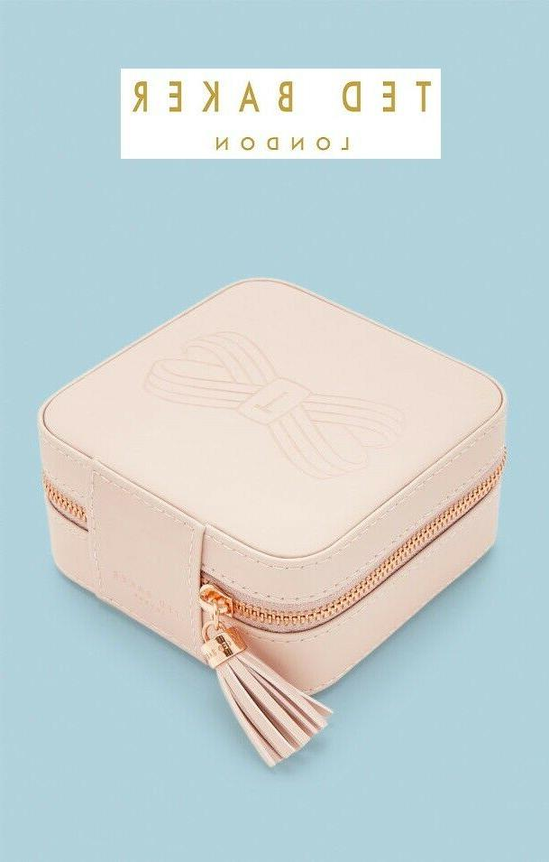 "NWT TED BAKER "" REL"" PU Leather Rose Gold Tone Jewelry Box/"