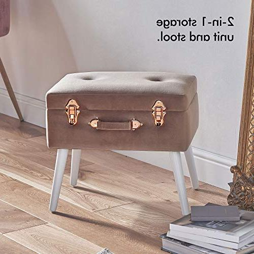 Beautify Velvet Storage - Ottoman Pouffe Clasp and