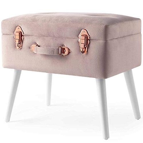 pearlized pink velvet storage trunk