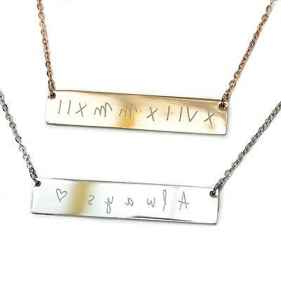 personalised engraved date bar necklace rose gold