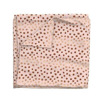 Pink Dots Rose Look Copper Tone Feminine Sateen Cover Roostery