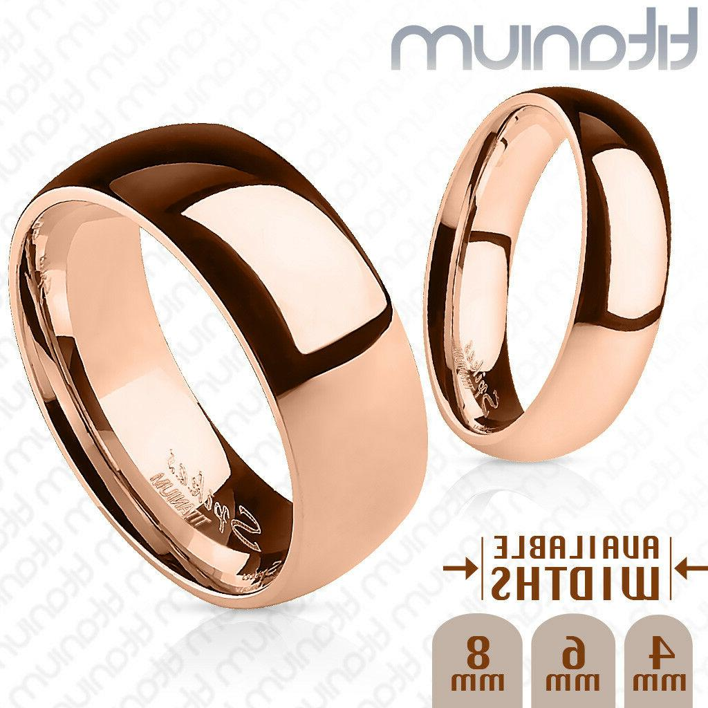 polished rose gold ion plated solid titanium
