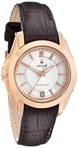 precisionist rose goldtone leather watch