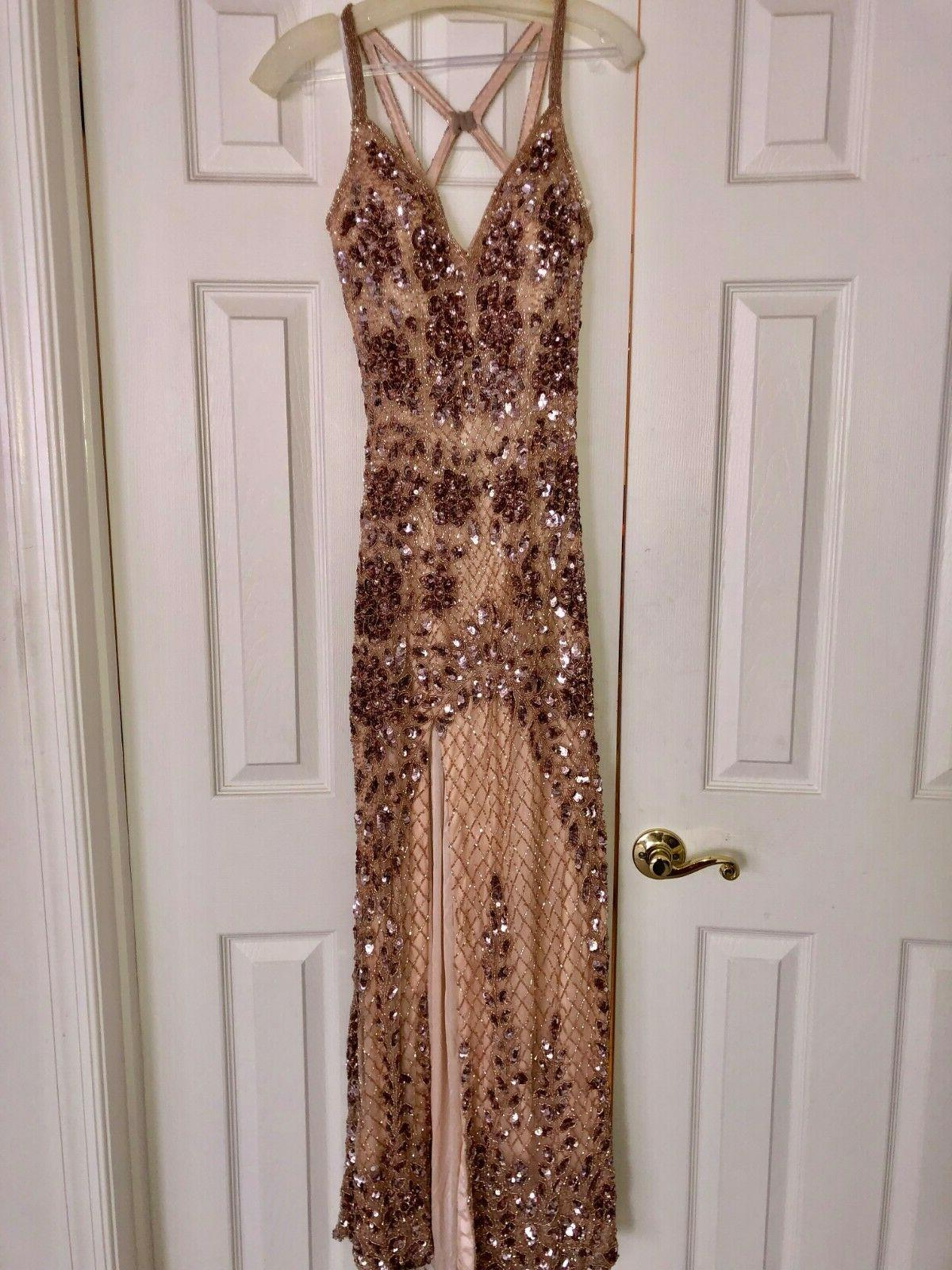 primavera rose gold sequenced dress with slit