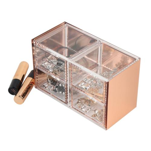 Moosy Life Rose Gold Acrylic Desk Organizer, Jewelry Box, 4