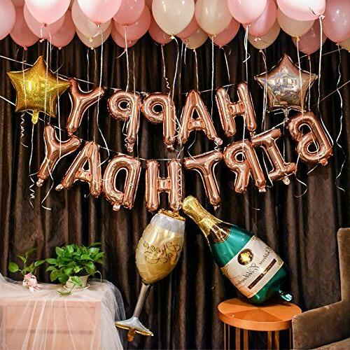 rose gold birthday party decorations set