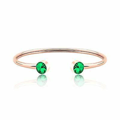 Zuo Bao Rose Gold Birthstones Cuff Bangle Crystal Months Jew
