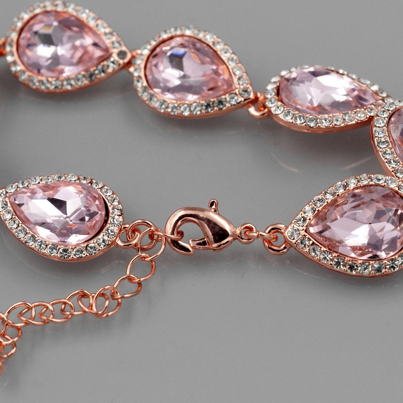 Rose Gold Crystal Necklace Wedding Jewelry