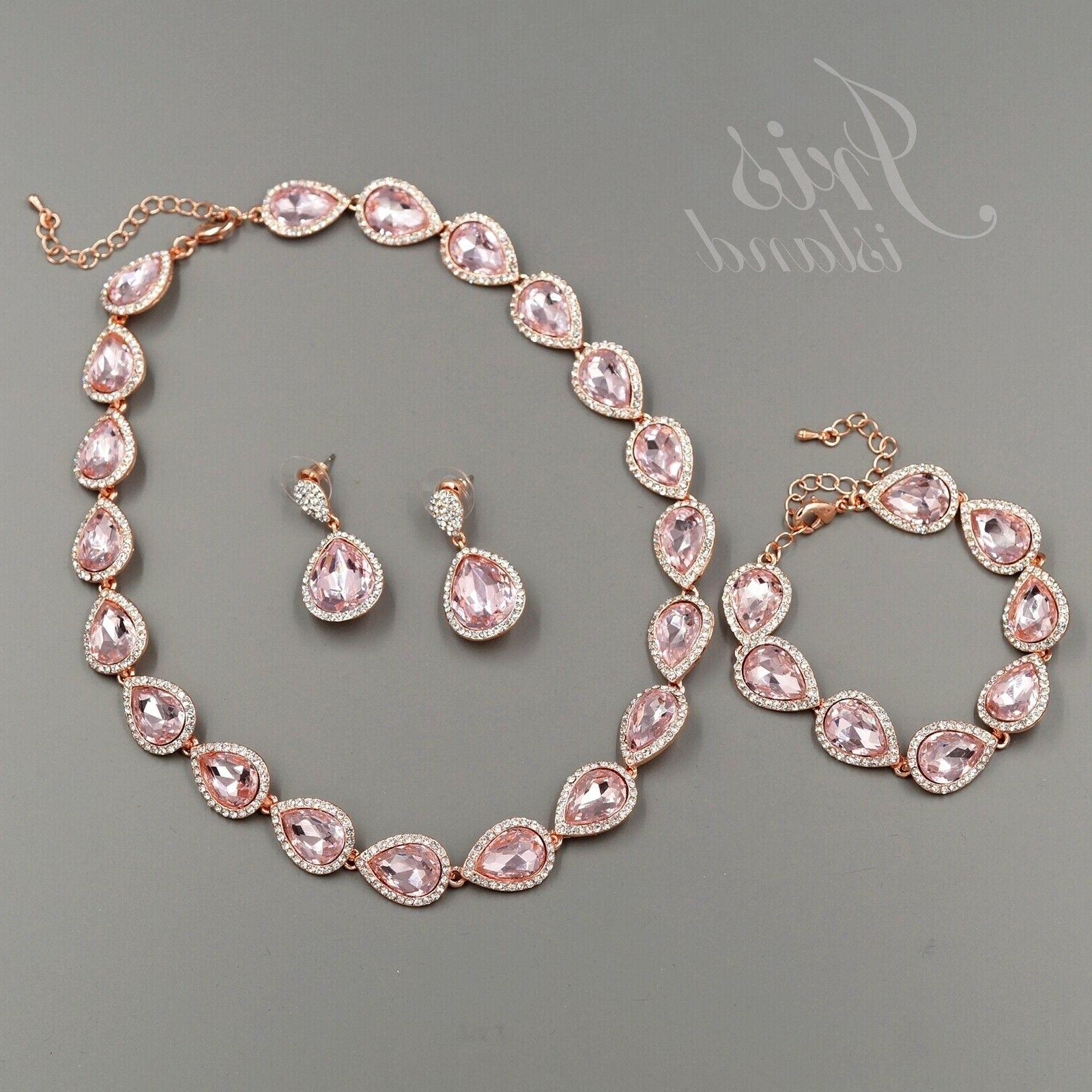 rose gold gp pink crystal necklace earrings
